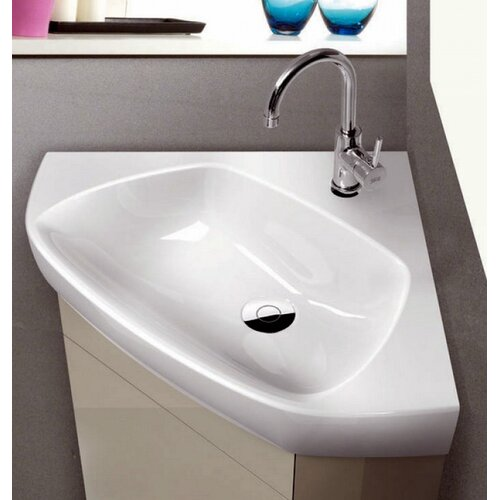 Corner Vanity Sink : CeraStyle by Nameeks Arda Corner Ceramic Bathroom Sink