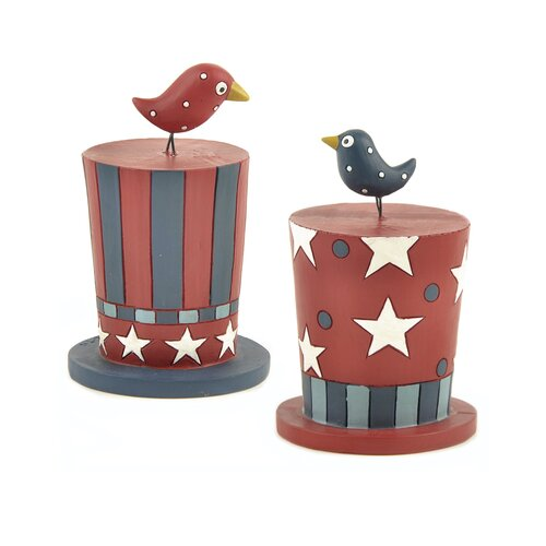 Blossom Bucket 2 Piece Americana Hats with Birds Statue Set