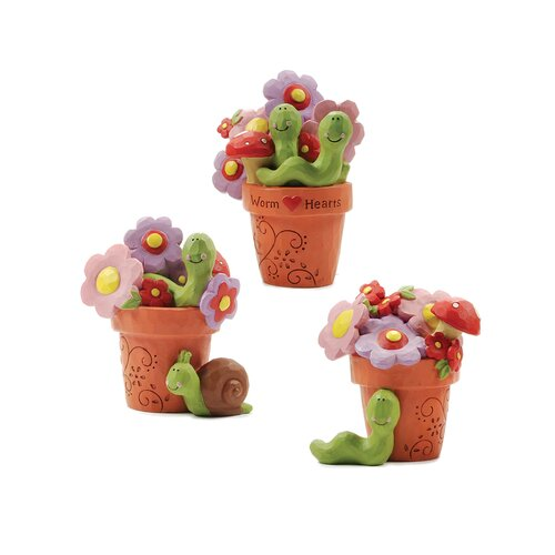 3 Piece Flower Pots with Worms and Snails Statue Set