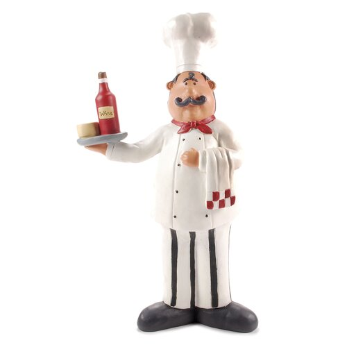 Chef with Wine Tray Statue.