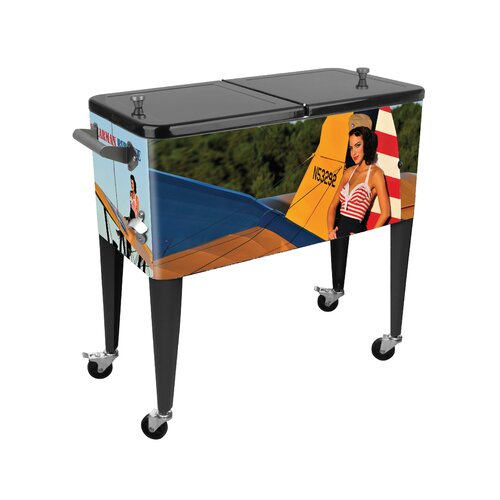 Warbird Pinup Girls Stear Man 80 Qt. Rolling Patio Cooler