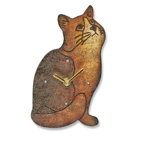 Cat Wood Magnet Wall Clock