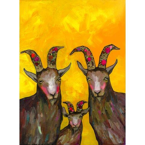 'Goats Family Portrait' by Eli Halpin Painting Print