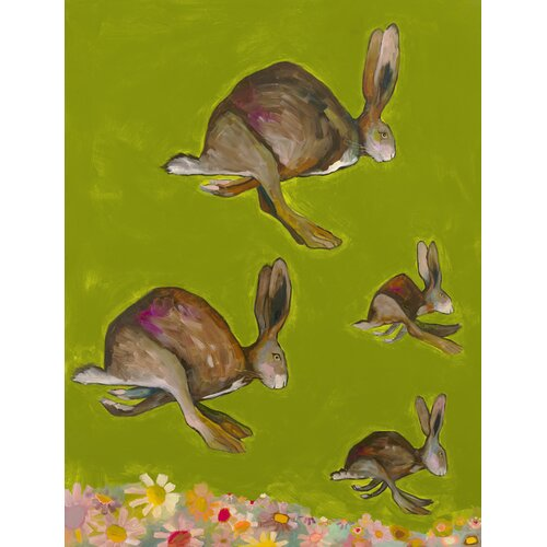 'Hopping Bunnies' by Eli Halpin Painting Print