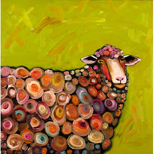 'Wooly Sheep' by Eli Halpin Painting Print in Citrus