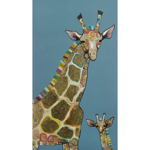 'Golden Giraffes' by Eli Halpin Painting Print