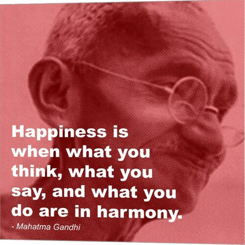 Gandhi - Happiness Quote Graphic Art on Canvas