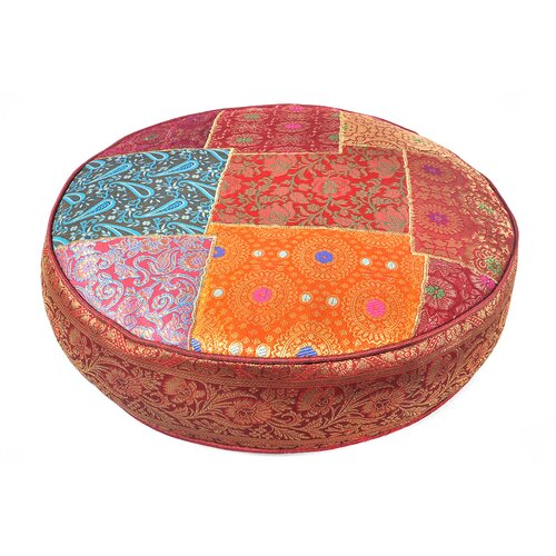 Patchwork Sari Brocade Round Pillow