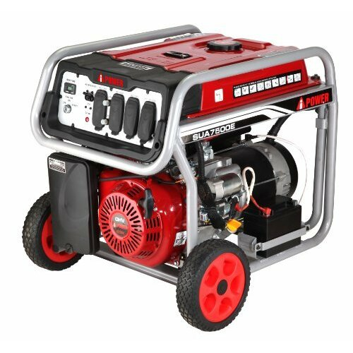 Electric Start 7,000 Watt Gasoline Generator with Wheel Kit and Battery