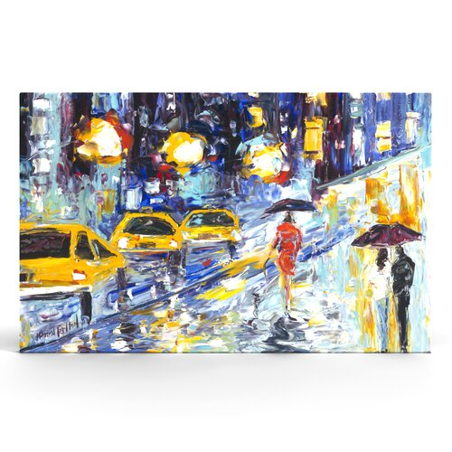 City Rain Textured Painting Print on Canvas