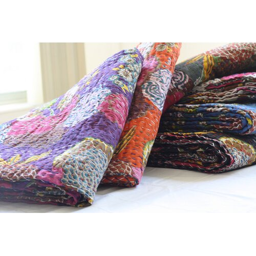 Handmade Kantha Cotton Throw