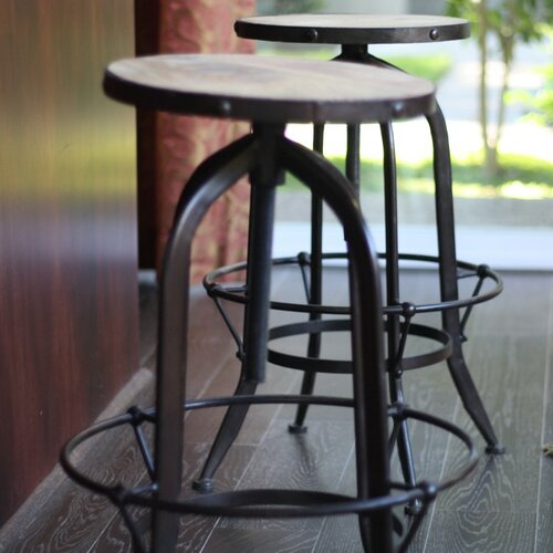 Industrial Round Reclaimed Wood and Iron Stool