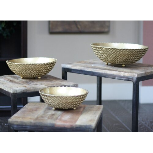 3 Piece Brass Coated Iron Bowl Set