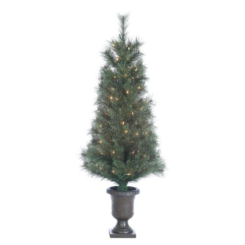 Sterling Inc. 4' Green Hard Needle Western Cashmere Christmas Tree with 100 Clear Lights with Pot and Stand