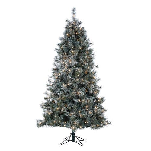 7' Lightly Frosted Silver Crest Pine Christmas Tree with Clear Lights