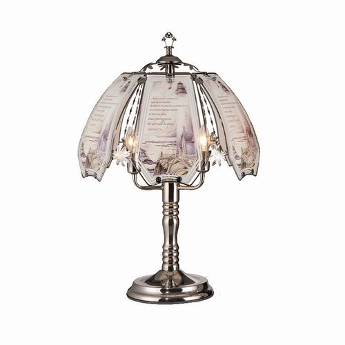 """ORE Furniture Lighthouse 23.5"""" H Touch Table Lamp with Inspirational Printed Scripture"""