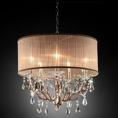 ORE Furniture Rosie Crystal 6 Light Ceiling Lamp