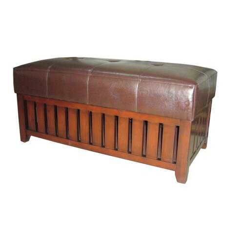 Wooden Storage Bench with Faux Leather Cushion