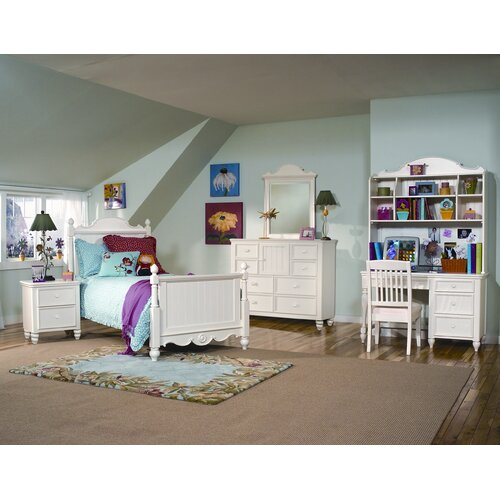 LC Kids Summer Breeze Computer Desk Hutch in Distressed Simple White