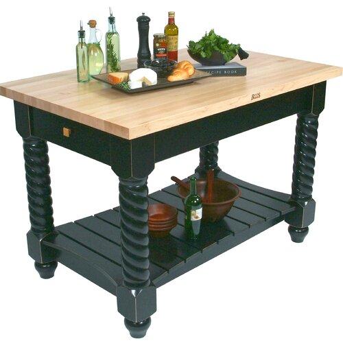 John Boos American Heritage Tuscan Kitchen Island with Wood Top