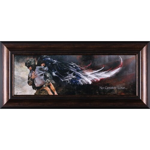 No Greater Love Soldier with Child Framed Graphic Art
