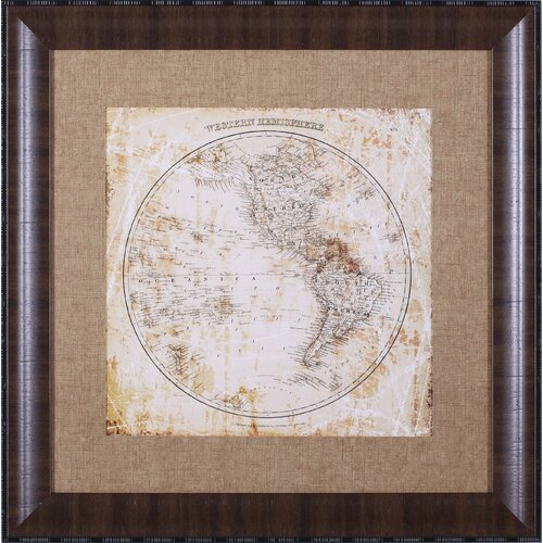 Art Effects Antique Map Western Hemisphere by Mauro Cardoza Framed Graphic Art