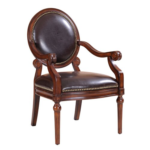 Bi Cast Leather Roll Arm Chair with Nailheads