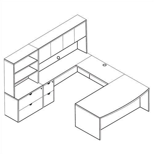 OSP Furniture Kenwood 4-Piece U-Shape Desk Office Suite