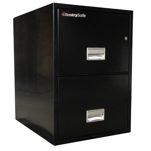 """Sentry Safe 19.6"""" W x 25"""" D 2-Drawer Fireproof Key Lock 2 Drawer Letter File Safe"""