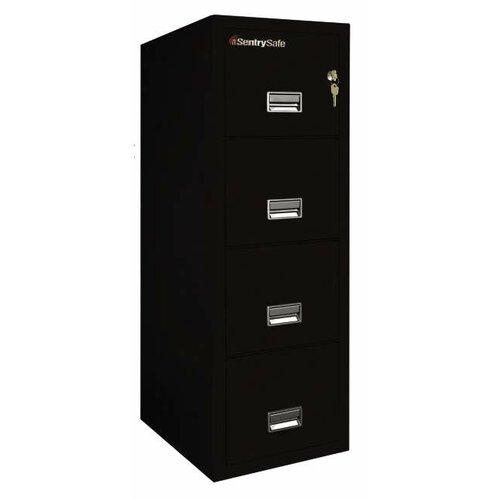 """Sentry Safe 17.6"""" W x 31.5"""" D 4-Drawer Fireproof Key Lock Letter File Safe"""