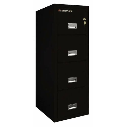 "Sentry Safe 17.6"" W x 31.5"" D 4-Drawer Fireproof Key Lock Letter File Safe"