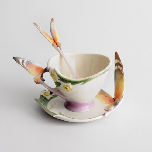 Franz Collection Papillon Butterfly Cup, Saucer and Spoon Set