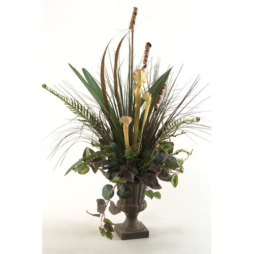 D & W Silks Linnia, Feathers, Foliage Floor Plant in Urn