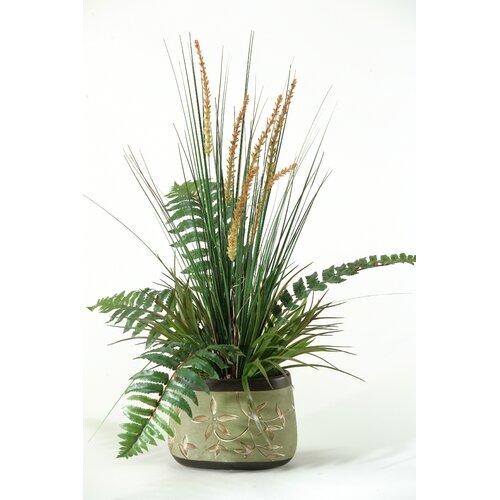 D & W Silks Onion Grass and Fern Desk Top Plant in Planter