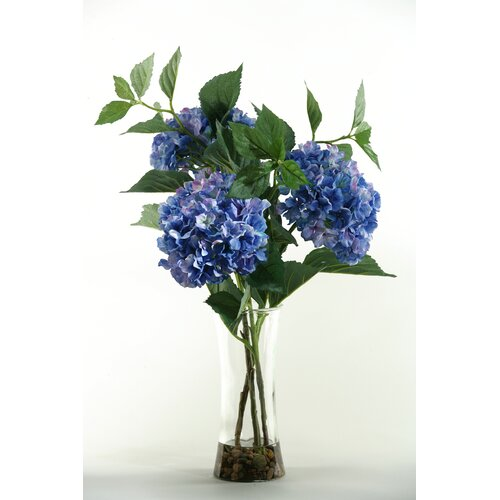 D & W Silks Hydrangeas in Tall Glass Vase