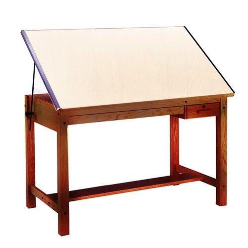 Wood Four-Post B Combination Drawing Table - Golden Oak (37.5