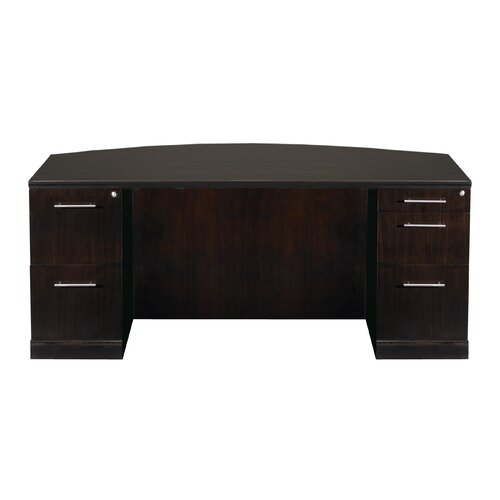 Mayline Group Sorrento Double Pedestal Desk with Bow Front