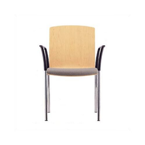 Source Seating Zag Four Leather Guest Side Chair with Seat Pad