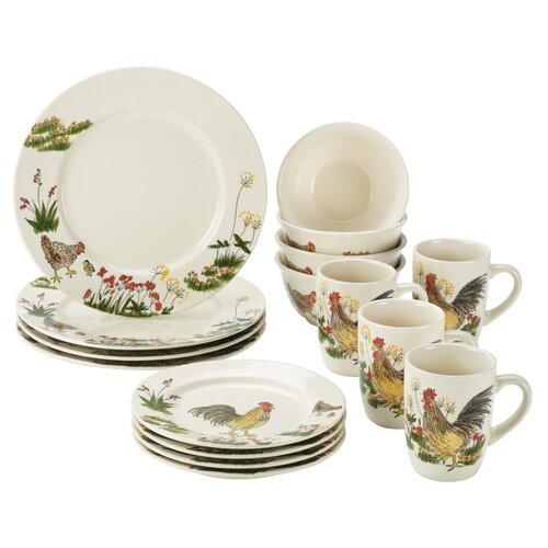 Signature Dinnerware Southern Rooster 16 Piece Dinnerware Set