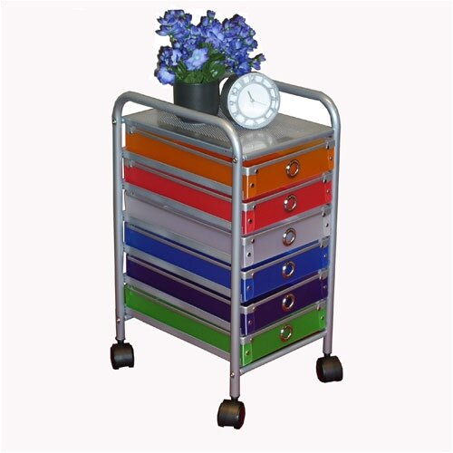 4D Concepts 6 Drawer Multi-Colored Rolling Storage Tower