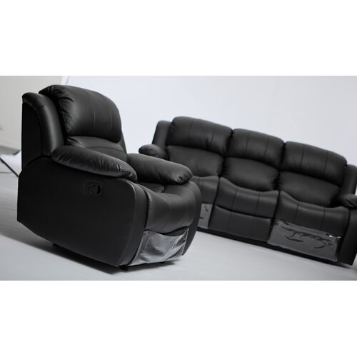 My Suite Home Kacey Black Leather 3 Seater Recliner Sofa
