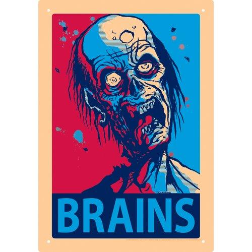 Zombie Brains Tin Sign Graphic Art