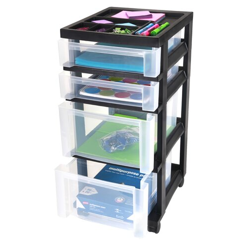 Iris Medium Cart with 4 Clear Drawers and Organizer Top - Black