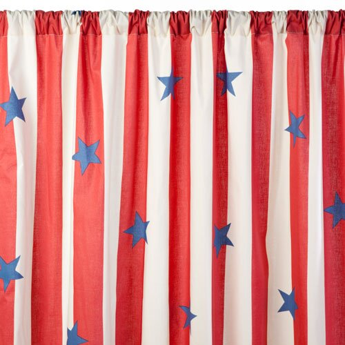 Sin In Linen Stars and Stripes Cotton Rod Pocket Curtain Single Panel