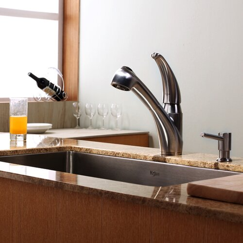 Single Handle Single Hole Kitchen Faucet with Pull-out Spray Head