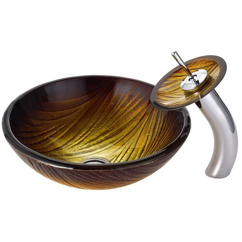 Midas Glass Vessel Sink with Waterfall Faucet
