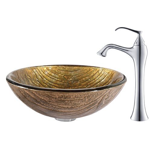 Terra Glass Vessel Sink with Ventus Faucet