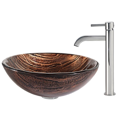 Gaia Glass Vessel Sink with Ramus Faucet