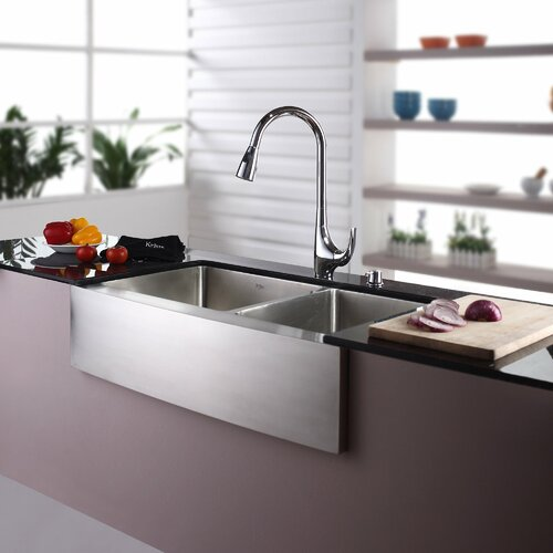 """Kraus 35.9"""" x 20.75"""" Double Bowl Farmhouse Kitchen Sink with Faucet and Soap Dispenser"""