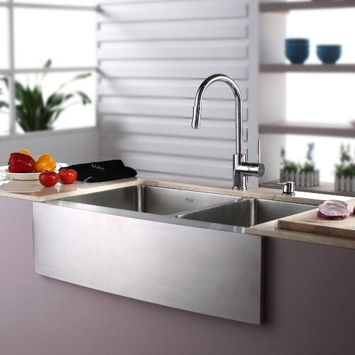 "Kraus 32.88"" x 20.75"" Double Bowl Farmhouse Kitchen Sink with Faucet and Soap Dispenser"